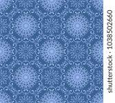 seamless blue wallpaper pattern ... | Shutterstock .eps vector #1038502660