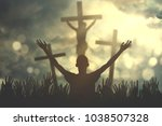 silhouette of a christian... | Shutterstock . vector #1038507328