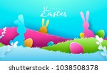 happy easter paper art... | Shutterstock .eps vector #1038508378
