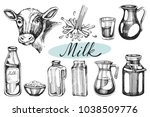 vector set with hand drawn milk ... | Shutterstock .eps vector #1038509776