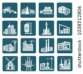 industrial icon set vector... | Shutterstock .eps vector #1038512806