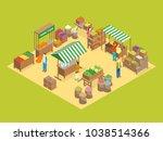 farm local market concept 3d... | Shutterstock .eps vector #1038514366
