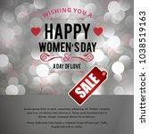 happy women's day sale card...   Shutterstock .eps vector #1038519163