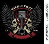 biker skull emblem illustration   Shutterstock .eps vector #1038520408