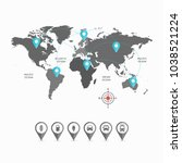 world map   worldmap with blue... | Shutterstock .eps vector #1038521224