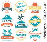 summer retro vector logo for... | Shutterstock .eps vector #1038528958