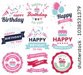 happy birthday vector logo for... | Shutterstock .eps vector #1038531379