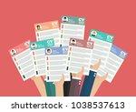 hands holding cv resume... | Shutterstock .eps vector #1038537613