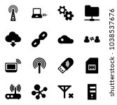 solid vector icon set   antenna ... | Shutterstock .eps vector #1038537676