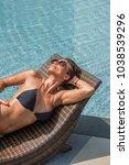 beautiful woman enjoying summer ... | Shutterstock . vector #1038539296