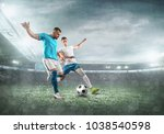 soccer players on a football... | Shutterstock . vector #1038540598