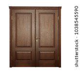 wide closed brown door isolated ... | Shutterstock . vector #1038545590