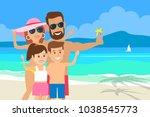 happy family taking selfie... | Shutterstock .eps vector #1038545773