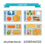 set lunches on a tray. healthy... | Shutterstock .eps vector #1038546520