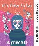 "greeting card for girl. ""it s... | Shutterstock .eps vector #1038551200"