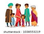 vector cartoon indian family... | Shutterstock .eps vector #1038553219