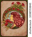 summer girl card in art nouveau ...   Shutterstock .eps vector #1038553840