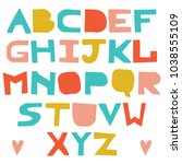 english colorful uppercase... | Shutterstock .eps vector #1038555109