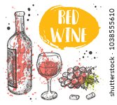 red wine concept design. sketch ... | Shutterstock .eps vector #1038555610