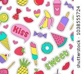 seamless pattern with sweet... | Shutterstock .eps vector #1038555724