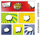 comic book page grid template... | Shutterstock .eps vector #1038557353
