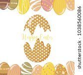 greeting cards with cute easter ... | Shutterstock .eps vector #1038560086