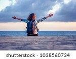 portrait of a beautiful happy...   Shutterstock . vector #1038560734