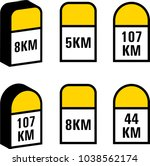 milestone icon  road side... | Shutterstock .eps vector #1038562174