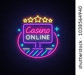 online casino neon sign vector. ... | Shutterstock .eps vector #1038564940