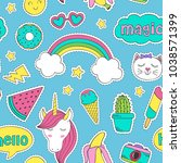 seamless pattern with funny... | Shutterstock .eps vector #1038571399