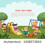 happy excited kids having fun... | Shutterstock .eps vector #1038572833