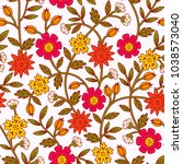 seamless colorful floral... | Shutterstock .eps vector #1038573040