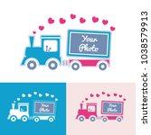 cartoon train with hearts and... | Shutterstock .eps vector #1038579913