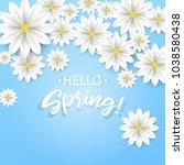 hello spring.hand lettering... | Shutterstock .eps vector #1038580438