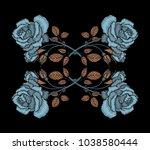 embroidery rose branch pattern. ...   Shutterstock .eps vector #1038580444