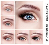 collage of female eyes with... | Shutterstock . vector #1038581959
