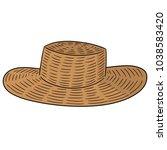 vector of straw hat | Shutterstock .eps vector #1038583420