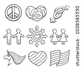 vector set of drawing icons of... | Shutterstock .eps vector #1038585550