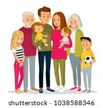 big happy multi generational... | Shutterstock .eps vector #1038588346