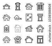 residence icons. set of 16... | Shutterstock .eps vector #1038588808
