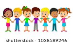 kids boys and girls are... | Shutterstock .eps vector #1038589246