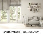 interior modern living room and ... | Shutterstock . vector #1038589924