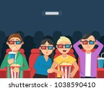 funny characters watching scary ... | Shutterstock .eps vector #1038590410