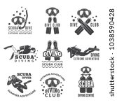 labels or logos for diving club.... | Shutterstock .eps vector #1038590428
