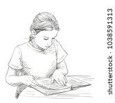 sketch of cute girl reading...   Shutterstock .eps vector #1038591313
