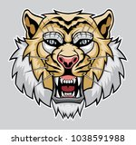 angry tiger head. | Shutterstock .eps vector #1038591988