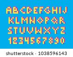 pixel retro video game font. 80'... | Shutterstock .eps vector #1038596143