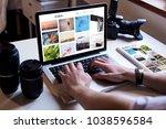 photographer managing his... | Shutterstock . vector #1038596584