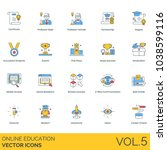 online education vector icons.... | Shutterstock .eps vector #1038599116