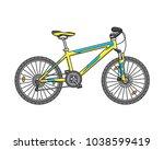 classic mountain bike. vector... | Shutterstock .eps vector #1038599419